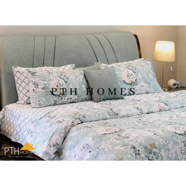 Teal Blossoms - Cotton Percale
