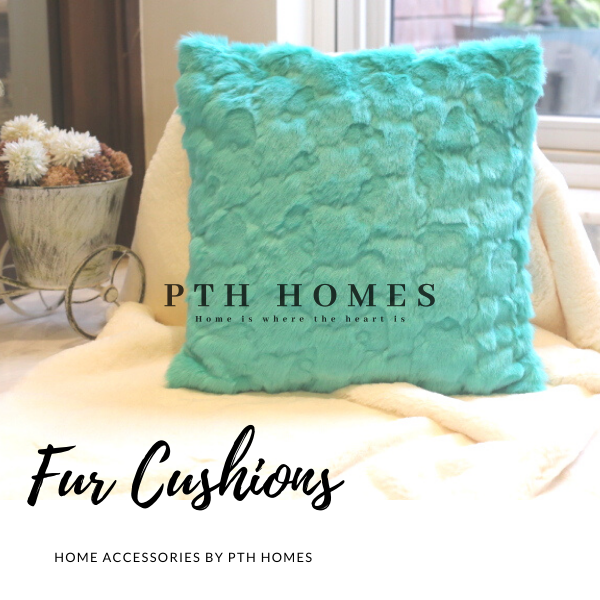 Fur Cushion Cover (Turquoise Blue)