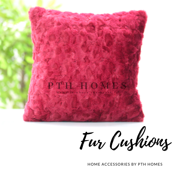Fur Cushion Cover (Maroon Mulberry)
